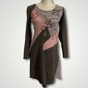 Brown Knit Fitted Dress